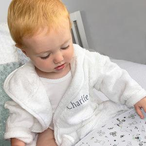 Little Love Bath and Bedtime Hamper, Grey - 0-6 Months with White Personalised Bathrobe