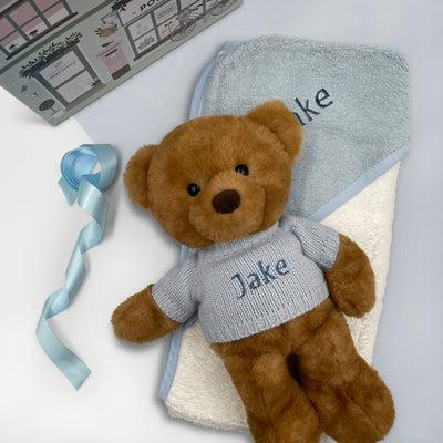 Personalised Charlie Bear with Hooded Towel, Blue