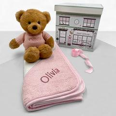 Personalised Charlie Bear with Hooded Towel, Pink