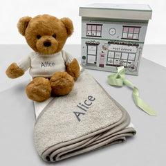 Personalised Charlie Bear with Hooded Towel, White