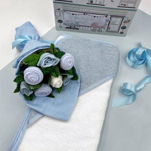 Hello Baby Clothes Bouquet With Hooded Baby Towel, Blue