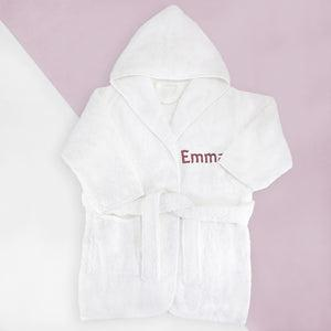 Little Love Sleepy Time Hamper, Pink - 0-12 Months with White Personalised Bathrobe