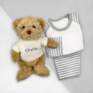 Personalised Bertie Bear With Baby Pyjamas, White