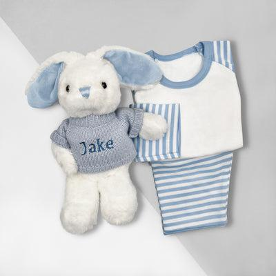 Little Love Bath and Bedtime Hamper, Blue - 0-6 Months with White Personalised Bathrobe