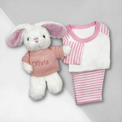 Little Love Bath and Bedtime Hamper, Pink - 0-6 Months with White Personalised Bathrobe