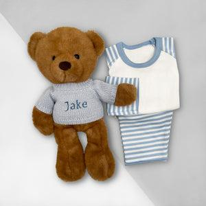 Charlie Bear Bath and Bedtime Hamper, Blue - 6-12 Months with White Personalised Bathrobe