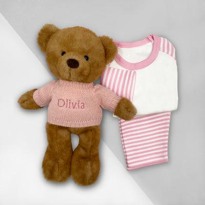 Charlie Bear Bath and Bedtime Hamper, Pink - 6-12 Months with White Personalised Bathrobe