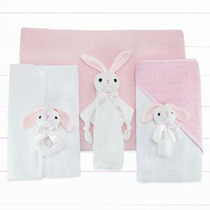 Personalised Three Little Bunnies Luxury New Baby Hamper – Pink