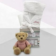 Bertie Bear and Bathrobe Hamper, Pink - 0-12 Months with White Personalised Bathrobe