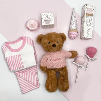 Charlie Bear Baby Girl Sweet Treats Hamper, Pink