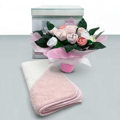 Welcome Baby Clothes Posy With Hooded Baby Towel, Pink