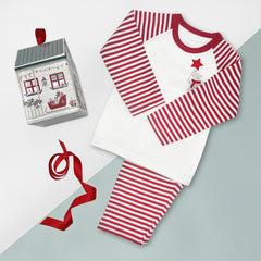 Christmas Baby Pyjamas Red and White  Striped - Size 6-12 Months