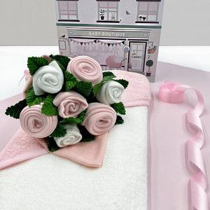 Hello Baby Clothes Bouquet With Hooded Baby Towel, Pink