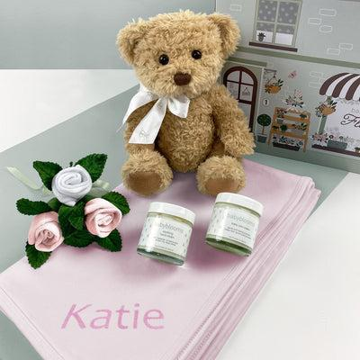 Personalised Bertie Bear Hello Baby Hamper Pink