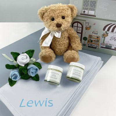 Personalised Bertie Bear Hello Baby Hamper Blue