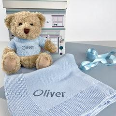 Personalised Bertie Bear with Blanket, Blue