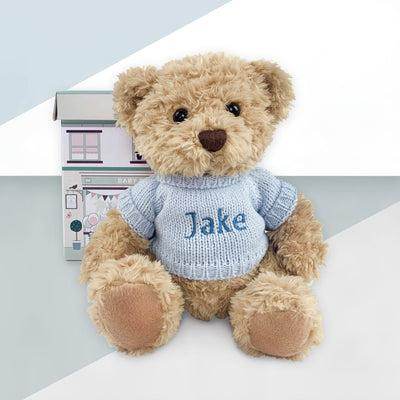 Personalised Bertie Bear With Baby Pyjamas, Blue