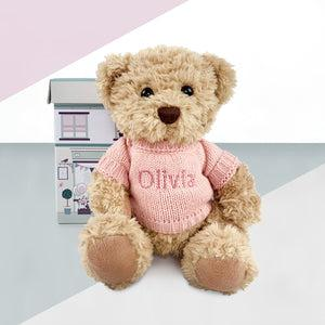Personalised Bertie Bear With Baby Pyjamas, Pink