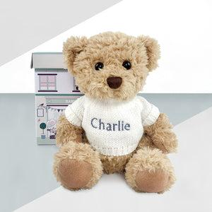 Personalised Bertie Bear With Boxed Pyjamas, White