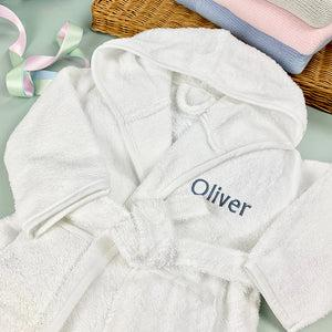 Personalised Bathrobe, Blue - 5-6 Years