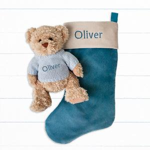 Bertie Bear's Personalised Christmas Stocking in Blue