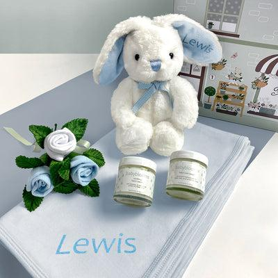 Personalised Little Blue Bunny Hello Baby Hamper