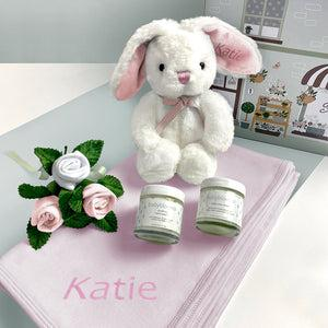 Personalised Little Pink Bunny Hello Baby Hamper