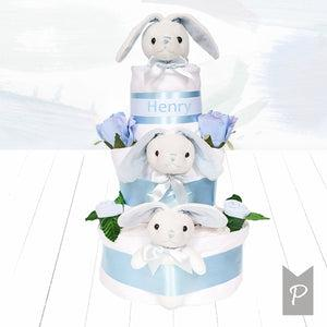 Personalised Little Bunnies Three Tier Nappy Cake – Blue