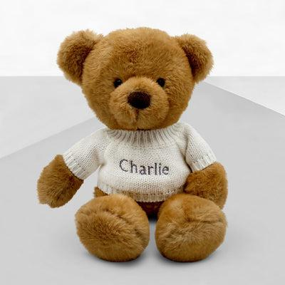 Charlie Bear Sleepy Time Hamper, Neutral - 0-12 Months with White Personalised Bathrobe