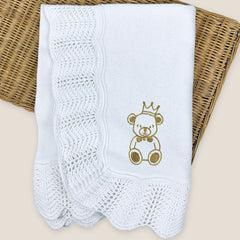 Corniche Collection Traditional Knitted Baby Shawl - Teddy
