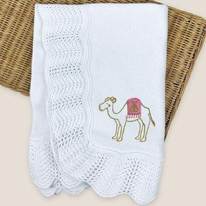 Corniche Collection Traditional Knitted Baby Shawl -Camel