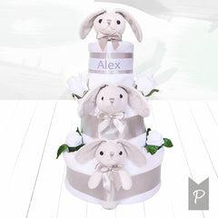 Personalised Little Bunnies Three Tier Nappy Cake –Grey