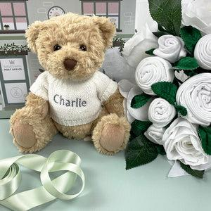 Luxury Rose Baby Clothes Bouquet and Personalised Teddy Bear, White