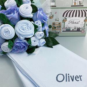 Luxury Rose Baby Clothes Bouquet and Personalised Snuggle Wrap, Blue