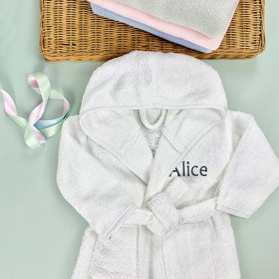 Personalised Bathrobe, Grey - 6-12 Months