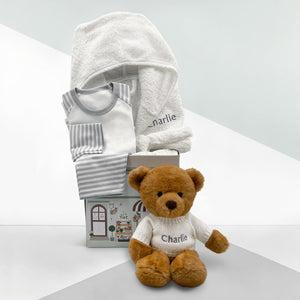Charlie Bear Bath and Bedtime Hamper, Grey - 6-12 Months with White Personalised Bathrobe