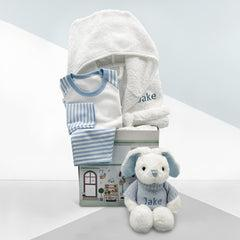 Little Love Bath and Bedtime Hamper, Blue - 6-12 Months with White Personalised Bathrobe