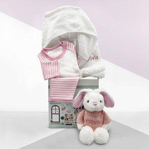 Little Love Bath and Bedtime Hamper, Pink - 6-12 Months with White Personalised Bathrobe