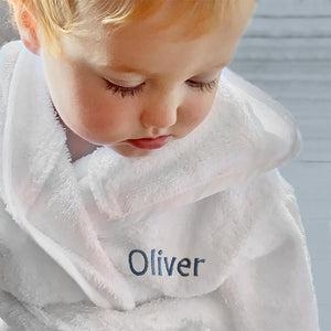 Little Love Bunny and Bathrobe Hamper, Blue - 1-2 Years with White Personalised Bathrobe