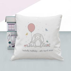 Little Bunny Personalised Christening Nursery Cushion, Pink