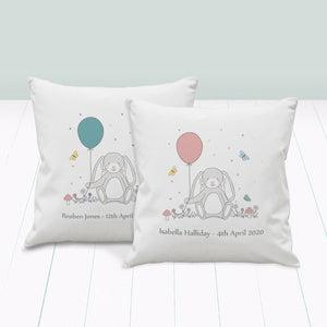 Little Bunny Personalised First Birthday Nursery Cushion, Pink
