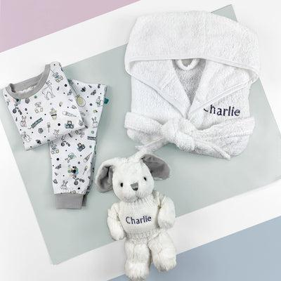 Little Love Bath and Bedtime Hamper, Grey - 1-2 Years with White Personalised Bathrobe