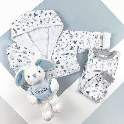 Little Love Bath and Bedtime Hamper, Blue - 1-2 Years with Printed Bathrobe