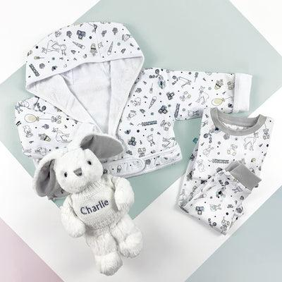 Little Love Bath and Bedtime Hamper, Grey - 0-6 Months with Printed Bathrobe
