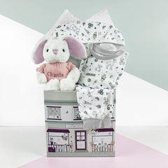 Little Love Bath and Bedtime Hamper, Pink - 0-6 Months with Printed Bathrobe