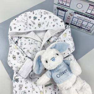Little Love Bunny and Bathrobe Hamper, Blue - 1-2 Years with Reversible Printed Bathrobe