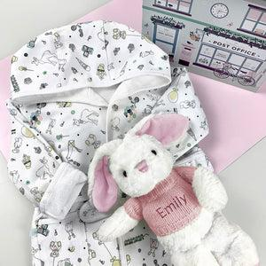 Little Love Bunny and Bathrobe Hamper, Pink - 1-2 Years with Reversible Printed Bathrobe
