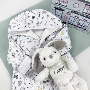 Little Love Bunny and Bathrobe Hamper, Grey - 1-2 Years with Reversible Printed Bathrobe