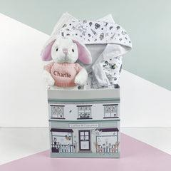 Little Love Bunny and Bathrobe Hamper, Pink - 0-12 Months with Reversible Printed Bathrobe