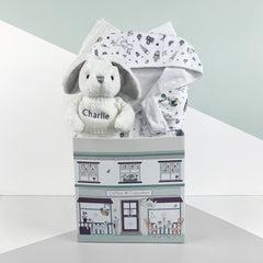 Little Love Bunny and Bathrobe Hamper, Grey - 0-12 Months with Reversible Printed Bathrobe